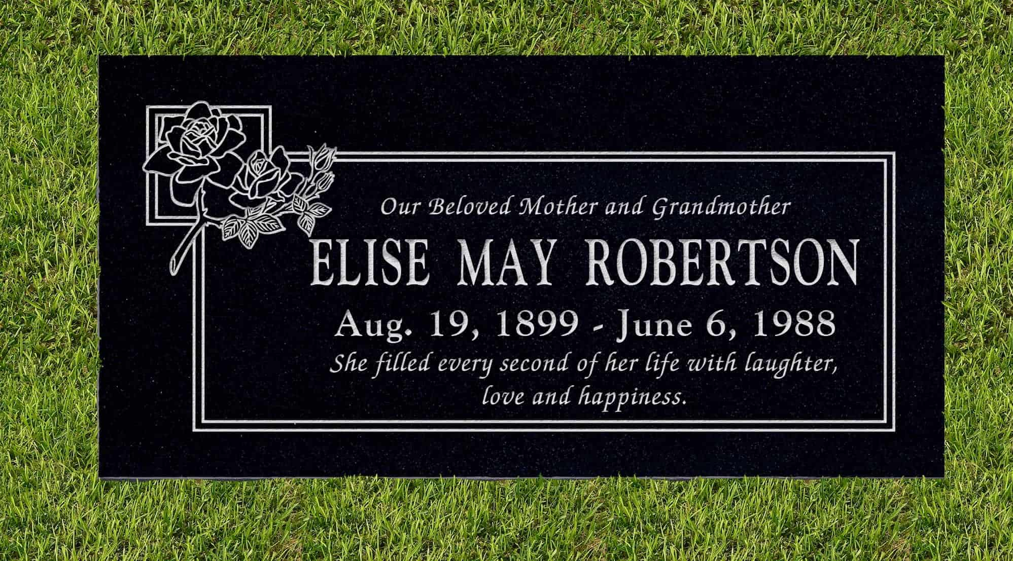 24inch_x_12inch_x_3inch_Flat_Granite_Headstone_in_Imperial_Black_with_design_B-11_installed_in_ground