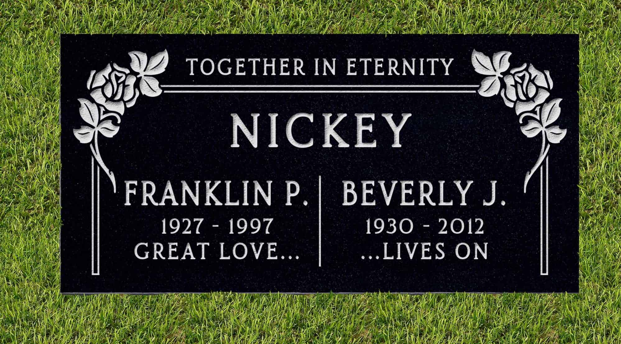 24inch_x_12inch_x_3inch_Flat_Granite_Headstone_in_Imperial_Black_with_design_F-107_installed_in_ground