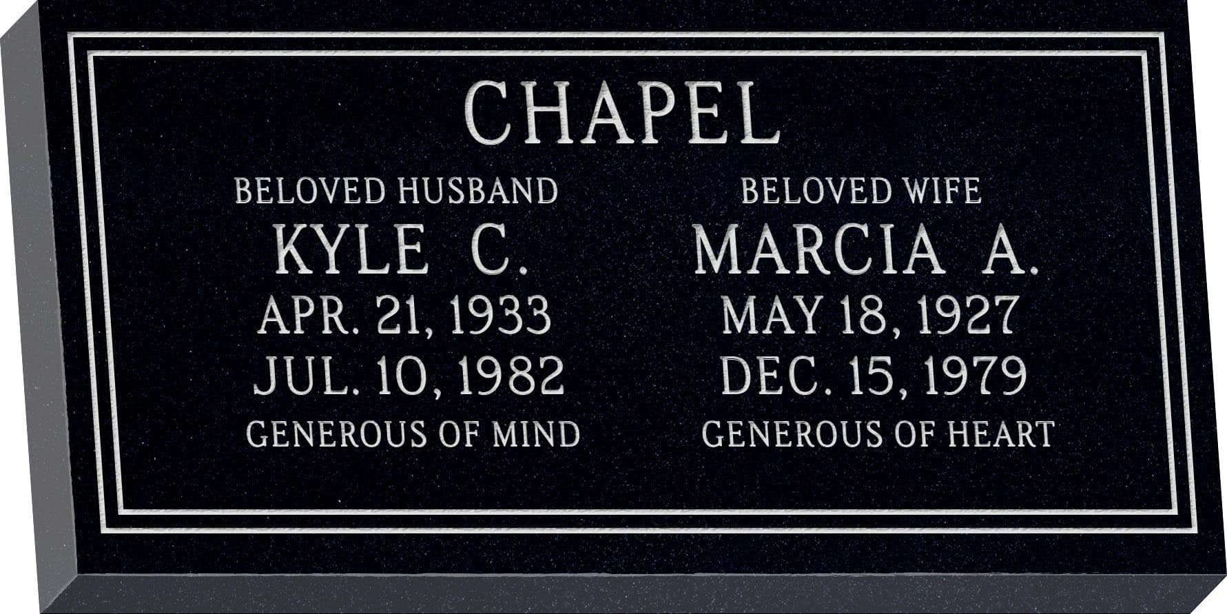 24inch_x_12inch_x_3inch_Flat_Granite_Headstone_in_Imperial_Black_with_design_F-117