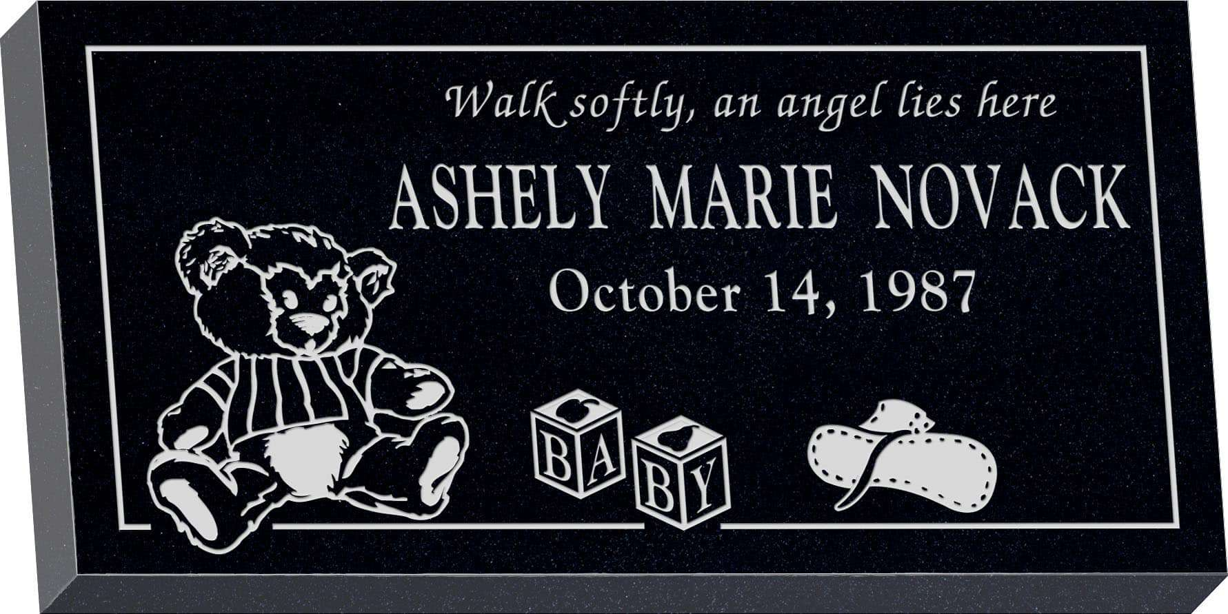 24inch_x_12inch_x_3inch_Flat_Granite_Headstone_in_Imperial_Black_with_design_R-39