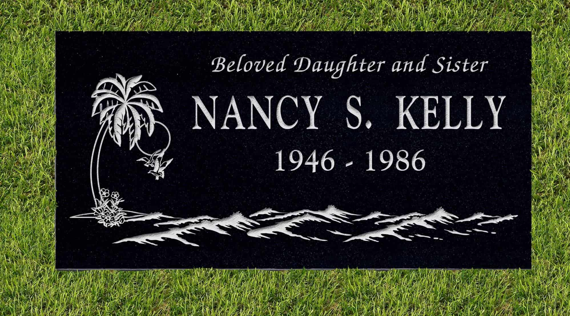 24inch_x_12inch_x_3inch_Flat_Granite_Headstone_in_Imperial_Black_with_design_T-2_installed_in_ground