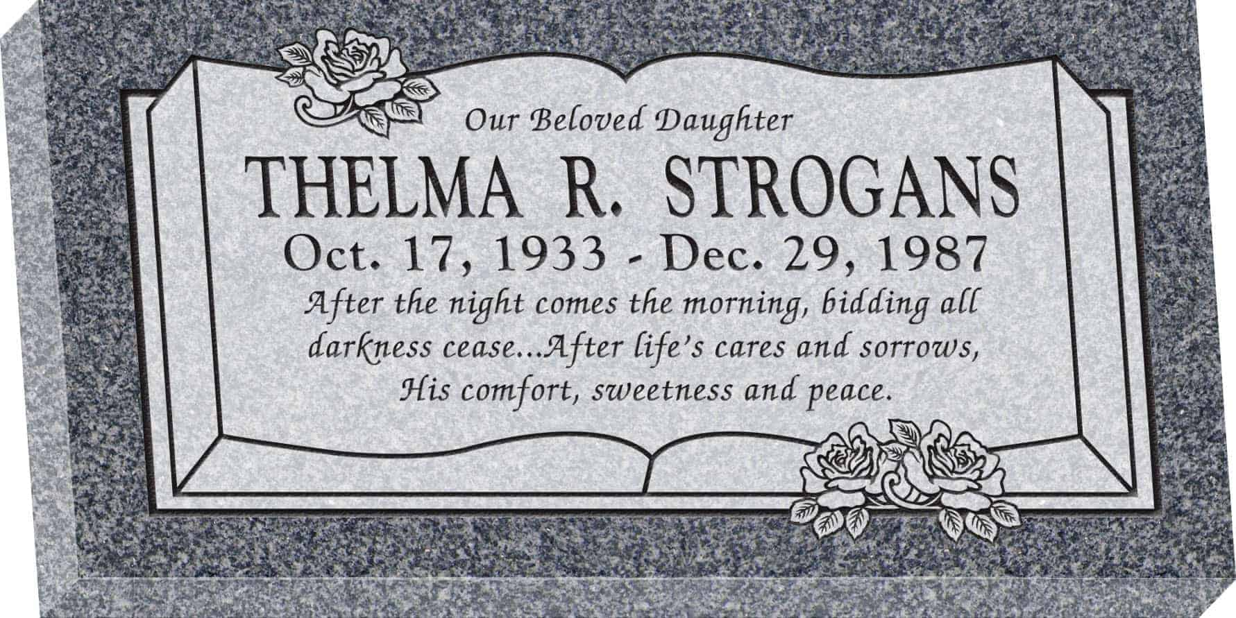 24inch_x_12inch_x_3inch_Flat_Granite_Headstone_in_Imperial_Grey_with_design_B-13,_Sanded_Panel