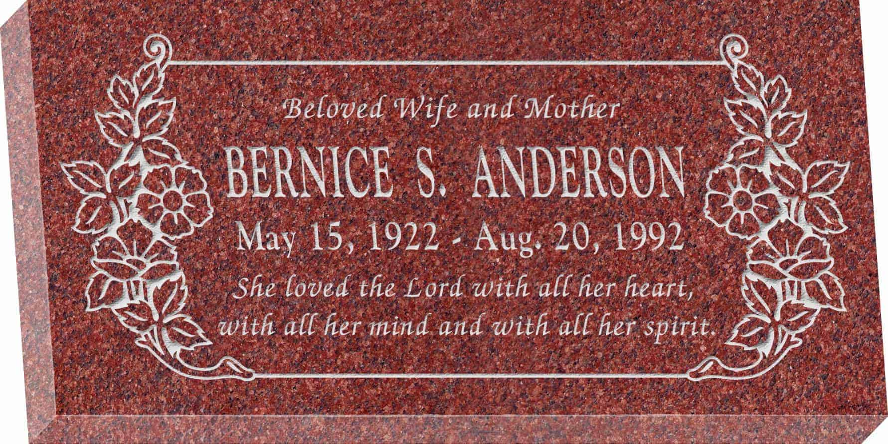 24inch_x_12inch_x_3inch_Flat_Granite_Headstone_in_Imperial_Red_with_design_C-101