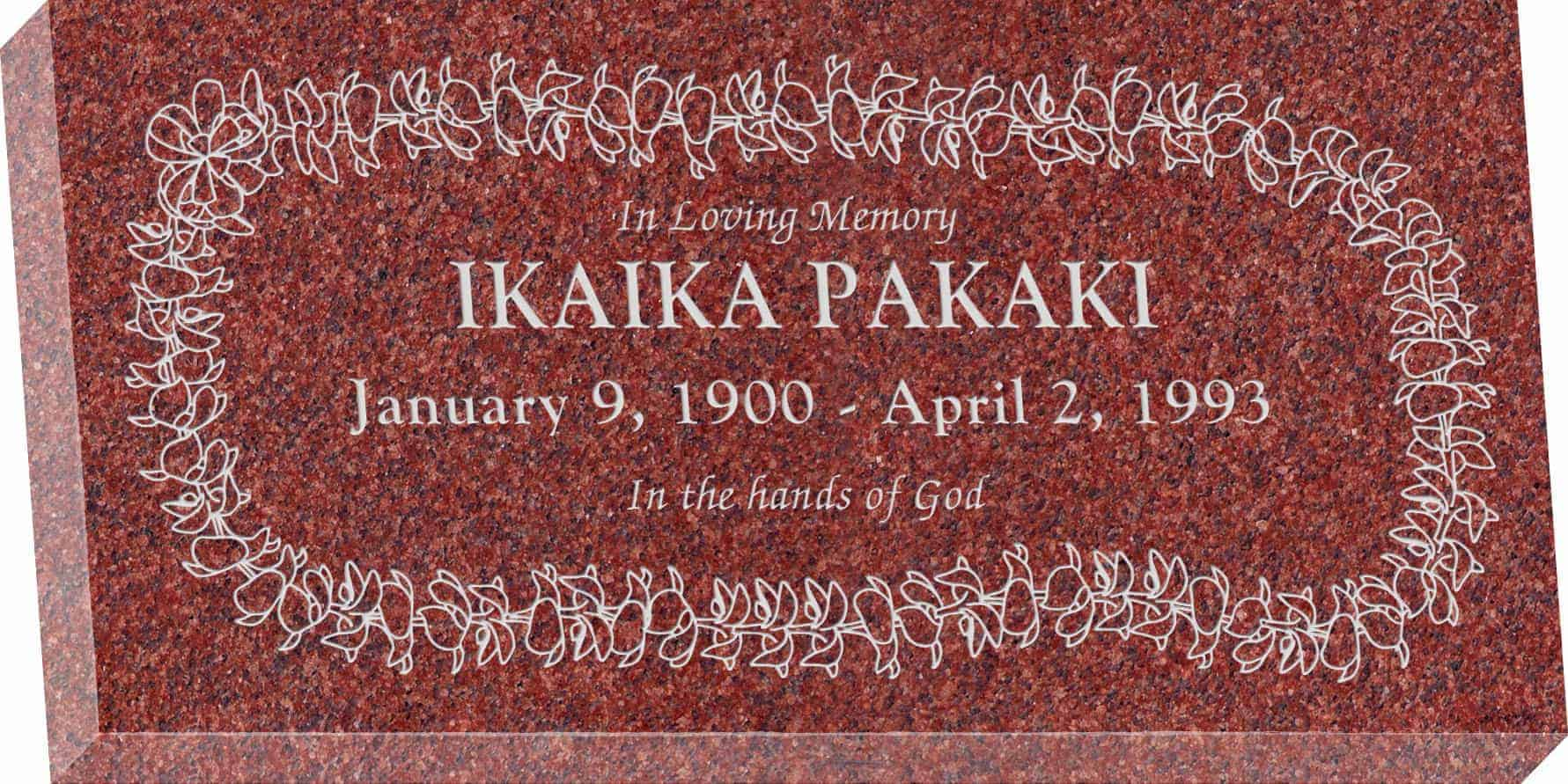 24inch_x_12inch_x_3inch_Flat_Granite_Headstone_in_Imperial_Red_with_design_H-110