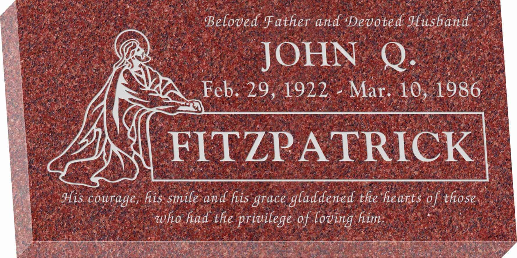 24inch_x_12inch_x_3inch_Flat_Granite_Headstone_in_Imperial_Red_with_design_R-6