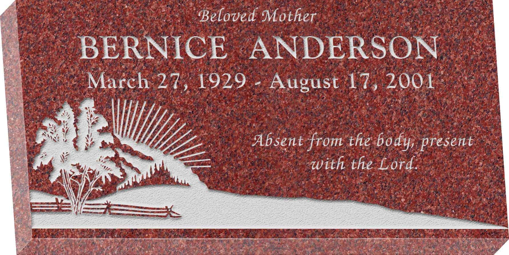 24inch_x_12inch_x_3inch_Flat_Granite_Headstone_in_Imperial_Red_with_design_S-3