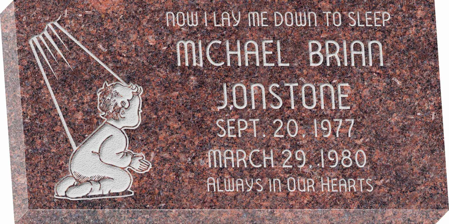 24inch_x_12inch_x_3inch_Flat_Granite_Headstone_in_Mahogany_with_design_B-109_D