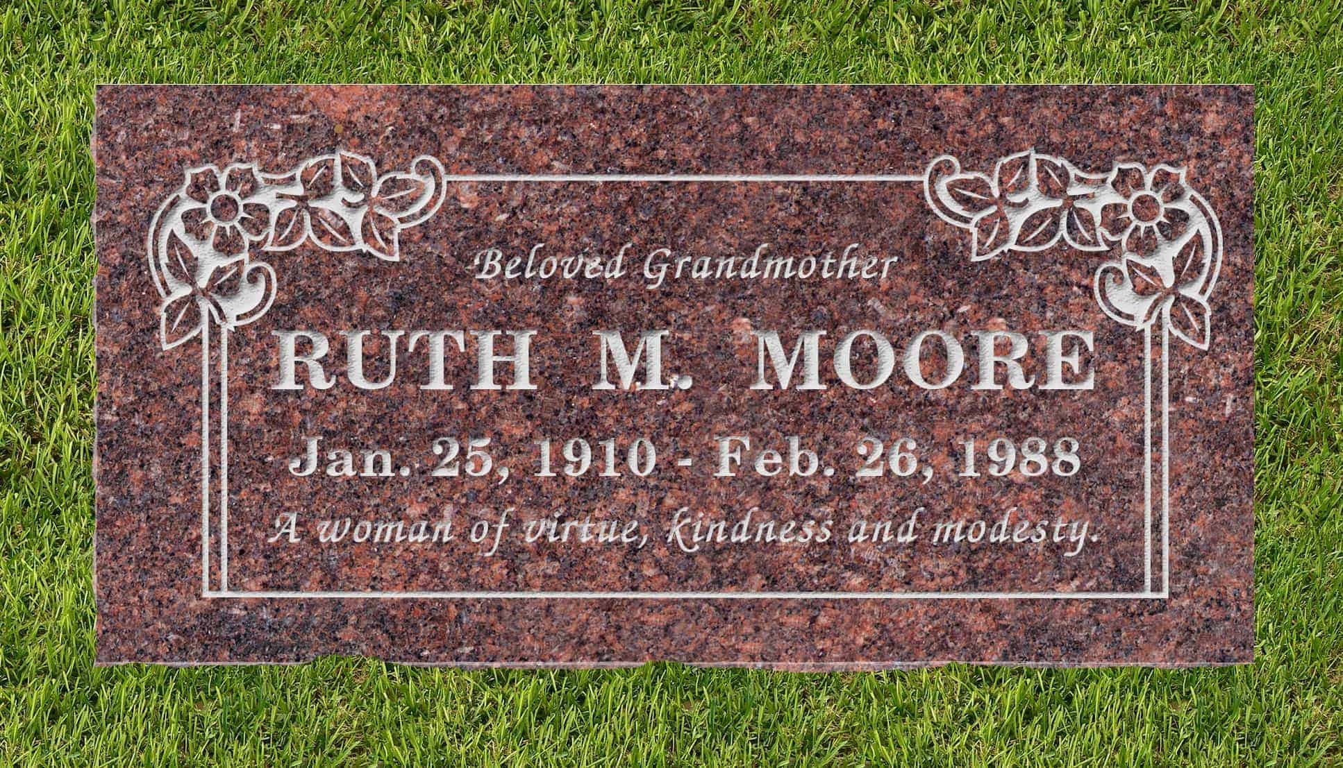 24inch_x_12inch_x_3inch_Flat_Granite_Headstone_in_Mahogany_with_design_B-21_installed_in_ground