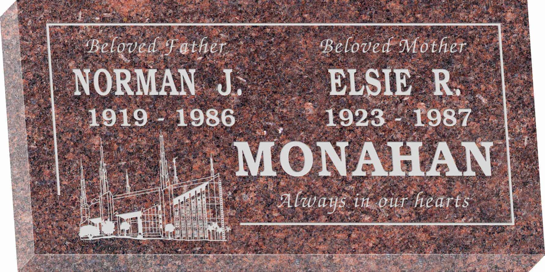 24inch_x_12inch_x_3inch_Flat_Granite_Headstone_in_Mahogany_with_design_M-01