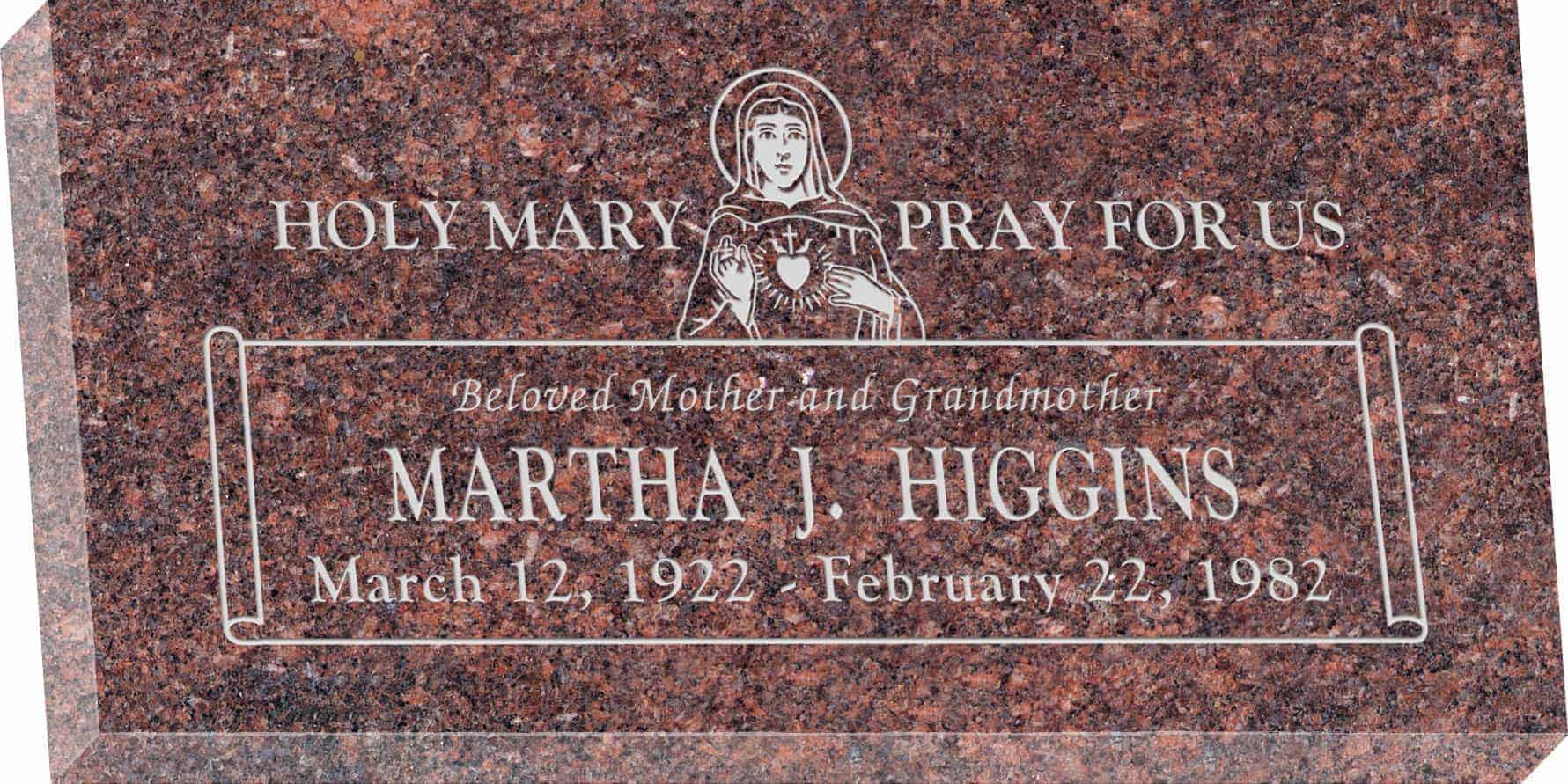24inch_x_12inch_x_3inch_Flat_Granite_Headstone_in_Mahogany_with_design_R-51