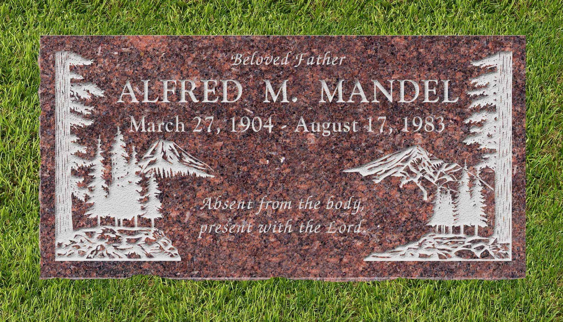 24inch_x_12inch_x_3inch_Flat_Granite_Headstone_in_Mahogany_with_design_S-4_installed_in_ground