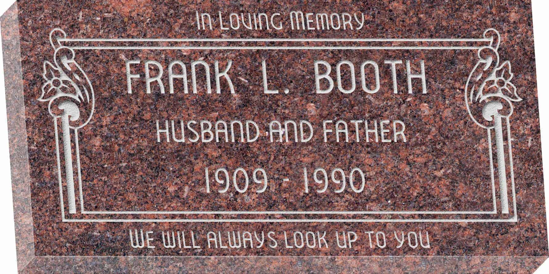 24inch_x_12inch_x_3inch_Flat_Granite_Headstone_in_Mahogany_with_design_V-252