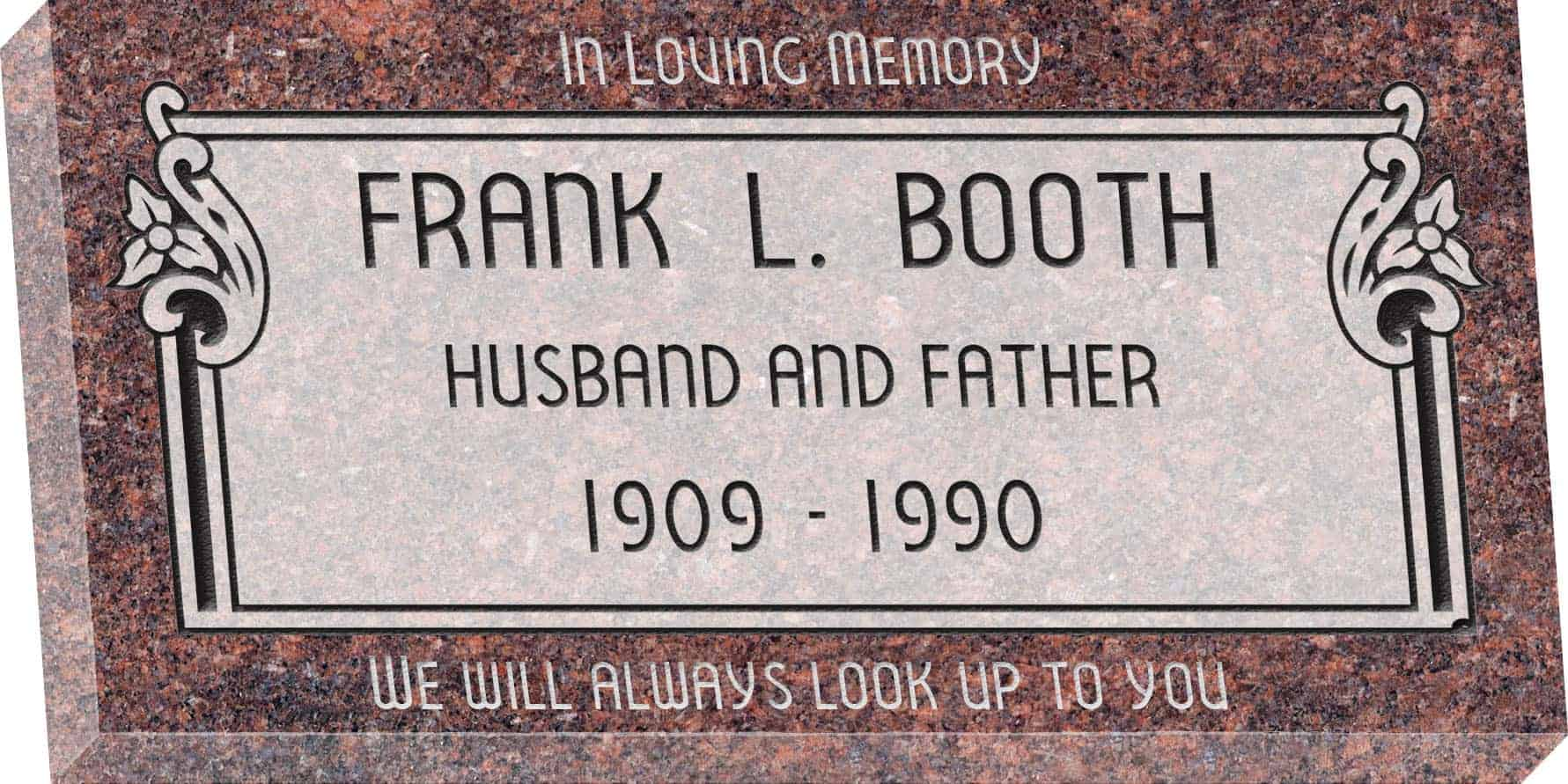 24inch_x_12inch_x_3inch_Flat_Granite_Headstone_in_Mahogany_with_design_V-252,_Sanded_Panel