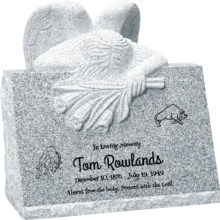 24inch x 18inch x 24inch carved angel slant headstone polished front and back with inch base in grey