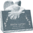 24inch x 18inch x 24inch carved angel slant headstone polished front and back with inch base in imperial grey
