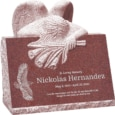 24inch x 18inch x 24inch carved angel slant headstone polished front and back with inch base in imperial red