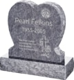24inch x 6inch x 24inch Single Heart Upright Headstone polished front and back with 30inch Base in Bahama Blue