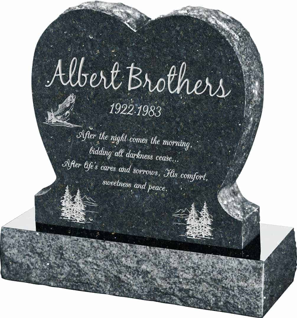 Honor Life Single Heart Upright Headstone polished front and back with 30