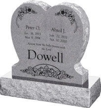 24inch_x_6inch_x_24inch_Single_Heart_Upright_Headstone_polished_front_and_back_with_30inch_Base_in_Grey_with_design_1