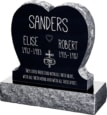24inch x 6inch x 24inch Single Heart Upright Headstone polished front and back with 30inch Base in Imperial Black