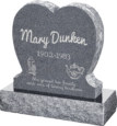 24inch_x_6inch_x_24inch_Single_Heart_Upright_Headstone_polished_front_and_back_with_30inch_Base_in_Imperial_Grey_with_design_1