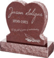 24inch_x_6inch_x_24inch_Single_Heart_Upright_Headstone_polished_front_and_back_with_30inch_Base_in_Imperial_Red_with_design_1