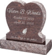 24inch_x_6inch_x_24inch_Single_Heart_Upright_Headstone_polished_front_and_back_with_30inch_Base_in_Mahogany_with_design_1