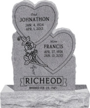24inch_x_6inch_x_34inch_Double_Heart_Upright_Headstone_polished_front_and_back_with_34inch_Base_in_Grey_with_design_1