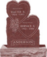 24inch x 6inch x 34inch Double Heart Upright Headstone polished front and back with 34inch Base in Imperial Red