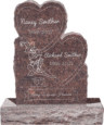 24inch_x_6inch_x_34inch_Double_Heart_Upright_Headstone_polished_front_and_back_with_34inch_Base_in_Mahogany_with_design_1