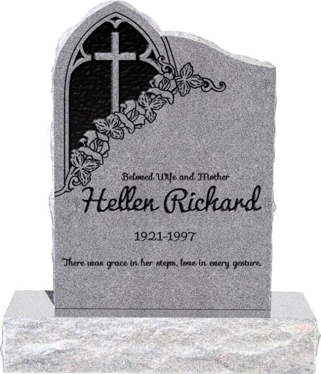 24inch_x_6inch_x_34inch_Gothic_Upright_Headstone_polished_front_and_back_with_34inch_Base_in_Grey_with_design_1