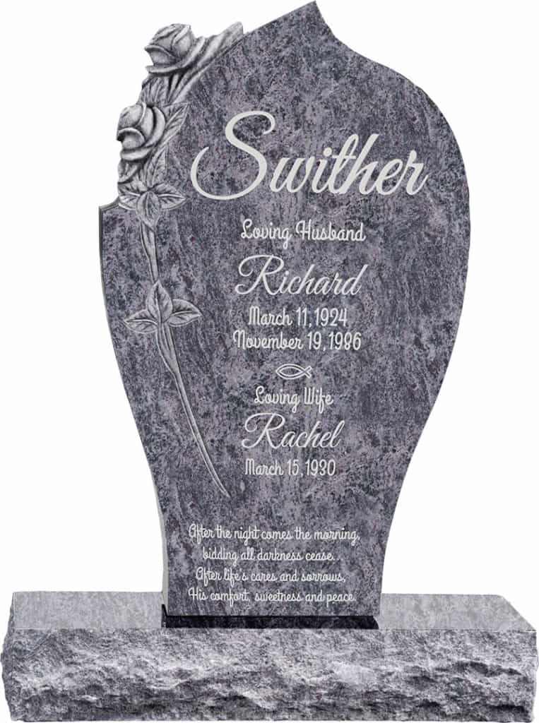24 inch x 6 inch x 40 inch Carved Rose Upright Headstone polished all sides with 34 inch Base in Bahama Blue
