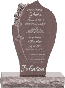 24 inch x 6 inch x 40 inch Carved Rose Upright Headstone polished all sides with 34 inch Base in Desert Pink