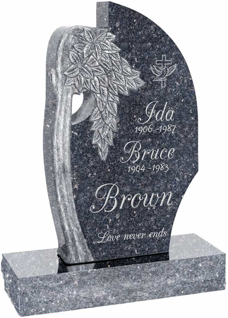 24 inch x 6 inch x 40 inch Olive Tree Upright Headstone polished all sides with 34 inch Base in Blue Pearl