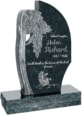 24 inch x 6 inch x 40 inch Olive Tree Upright Headstone polished all sides with 34 inch Base in Emerald Green