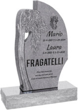 24 inch x 6 inch x 40 inch Olive Tree Upright Headstone polished all sides with 34 inch Base in Grey