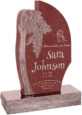 24 inch x 6 inch x 40 inch Olive Tree Upright Headstone polished all sides with 34 inch Base in Imperial Red
