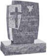 24inch_x_6inch_x_42inch_Cross_Upright_Headstone_polished_front_and_back_with_34inch_Base_in_Bahama_Blue_with_design_1