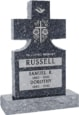 24inch_x_6inch_x_42inch_Cross_Upright_Headstone_polished_front_and_back_with_34inch_Base_in_Blue_Pearl_with_design_Sanded_Panel