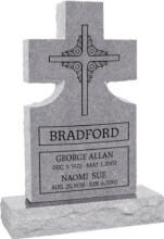 24inch_x_6inch_x_42inch_Cross_Upright_Headstone_polished_front_and_back_with_34inch_Base_in_Grey_with_design