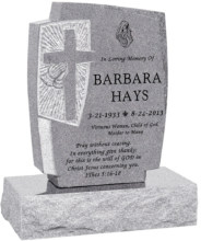 24inch_x_6inch_x_42inch_Cross_Upright_Headstone_polished_front_and_back_with_34inch_Base_in_Grey_with_design_1