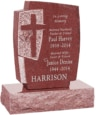 24inch x 6inch x 42inch Cross Upright Headstone polished front and back with 34inch Base in Imperial Red