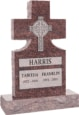 24inch_x_6inch_x_42inch_Cross_Upright_Headstone_polished_front_and_back_with_34inch_Base_in_Mahogany_with_design_Sanded_Panel
