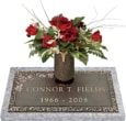 24x12 Dark Bronze Classic Rose 1 with Granite Base and Vase Front Perspective