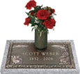 24x12 Dark Bronze Waters Edge with Granite Base and Vase Front Perspective