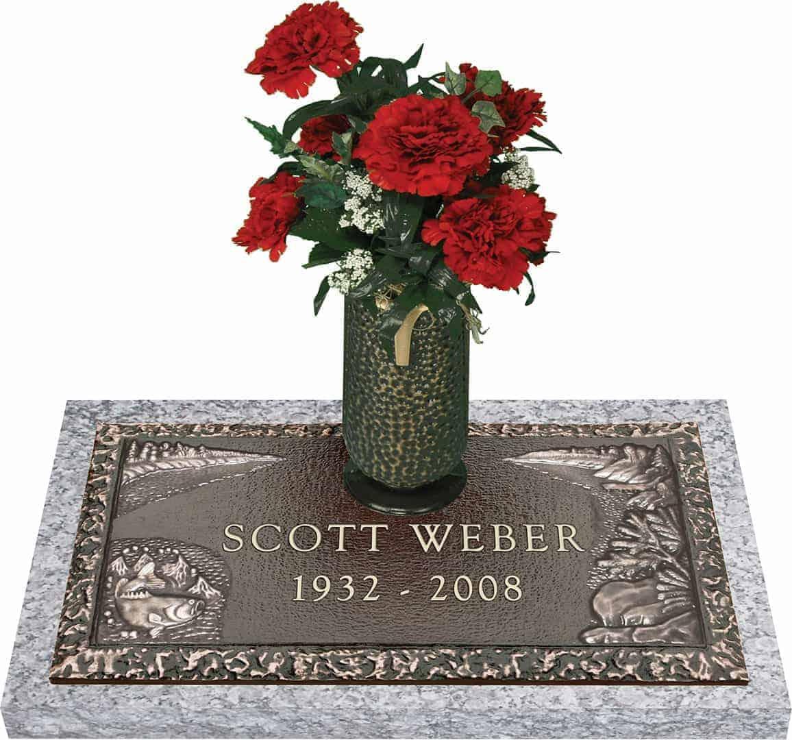 Bronze Headstone 24x12 Individual With Vase Honor Life