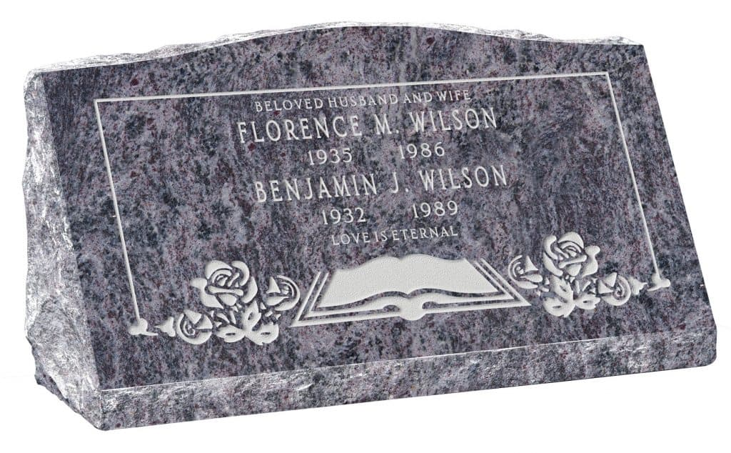 30inch_x_10inch_x_16inch_Serp_Top_Slant_Headstone_polished_front_and_back_in_Bahama_Blue_with_design_F-119
