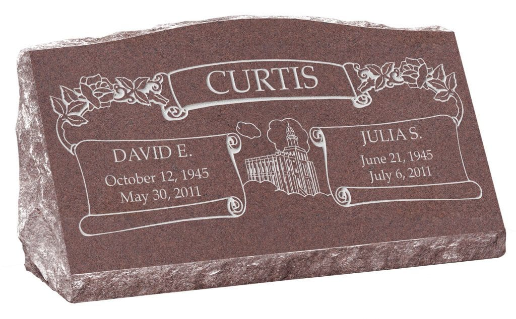 30inch_x_10inch_x_16inch_Serp_Top_Slant_Headstone_polished_front_and_back_in_Desert_Pink_with_design_F-415
