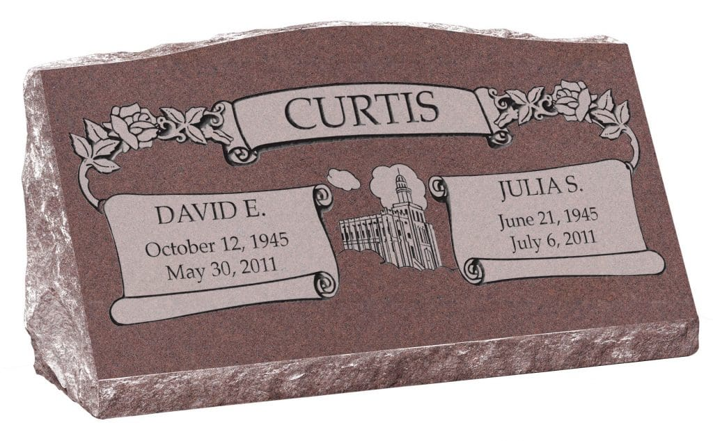 30inch_x_10inch_x_16inch_Serp_Top_Slant_Headstone_polished_front_and_back_in_Desert_Pink_with_design_F-415,_Sanded_Panel