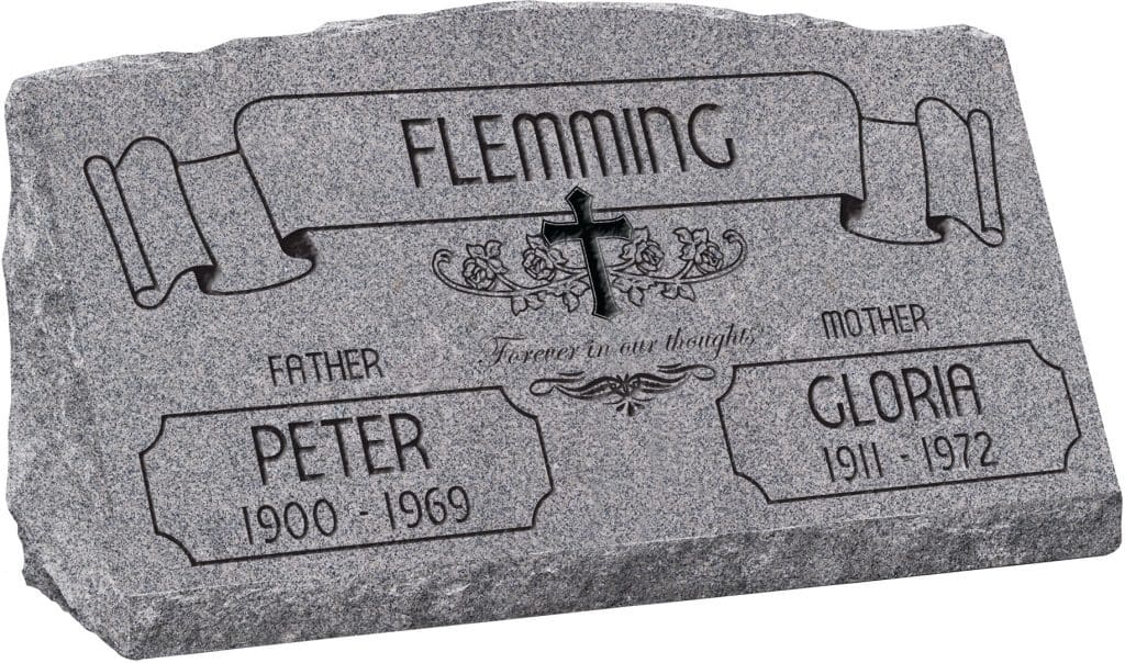 30inch_x_10inch_x_16inch_Serp_Top_Slant_Headstone_polished_front_and_back_in_Grey_with_design_AS-021